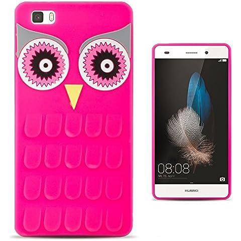 Zooky® 3D funda / carcasa / cover de Silicona suave para Huawei P8 Lite Búho rosado