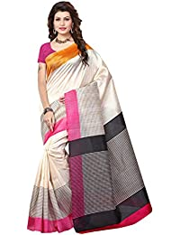 Rangreza Women's Top Collection Bhagalpuri Art Silk Off White Coloured Printed Saree