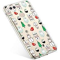 Uposao Handyhülle Huawei Honor 7X Schutzhülle Silikon Transparent Durchsichtig Handyhülle Schutzhülle TPU Dünn Handytasche Etui Case Cover,Schneemann Baum