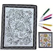Fai da te per bambini Coloring Palette Tavolo da disegno Concavo-convesso con penne [Fiore]