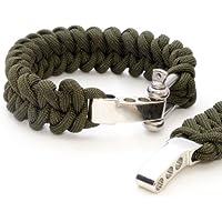 """2er SET ganzoo Survival-cuerda (compacto para pulsera trenzada) resistente """"paracaídas cuerda""""/""""Paracord""""/""""550 de pana"""" (kernmantle-cuerda) acero inoxidable, ajustable de metal-rosca, Longitud total 23 cm, colour: verde: la no apta para escalada! - negro"""
