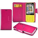 (Hot Pink) Nokia 225 Duel Sim Caso fino estupendo Faux Leather succión Pad Monedero piel de la cubierta con el crédito / débito ranuras para tarjetasBy ONX3