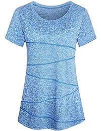 Sykooria T-Shirt Damen Sportshirt Kurzarm Atmungsaktiv Schnell Trocken Elastisch Yoga Gym Tshirt