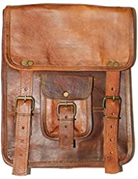 HLC-(Handmade Leather Craft) Real Genuine Leather Messenger Back Pack Traditionally Handmade Brown - B00PNN7C6Y