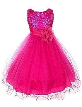 Live It Style It Mädchen Pailletten Kleid Blume Prinzessin Ärmellos Formell Party Hochzeit Brautjungfer