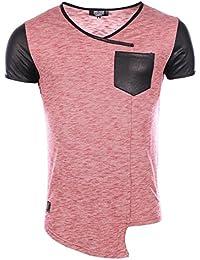 Carisma - Homme - T-Shirt slim fit stretch tendance col V 4230 rouge