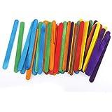 Magideal Palos De Madera Artesanales De Helados 50pcs Juguete De Bricolaje Seis Colores