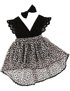 Laitb Neugeborene Baby Mädchen Romper Tutu Kleid Flutter Ärmel Leopard Lace Outfits