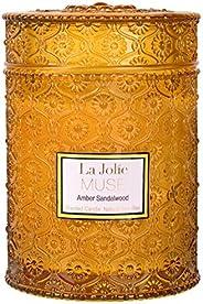 La Jolie Muse Bois Mèche 595,3 Gram Bois de Santal Bougies parfumées en Cire de soja Bougie Grande Bougie Pot
