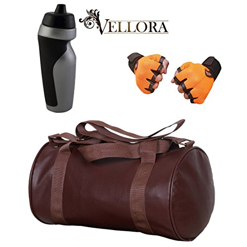 VELLORA Soft Leather Duffel Gym Bag (Brown) With Penguin Sport Sipper, Gym Sipper Water Bottle Color Black Grey... - B07F2KPWNK