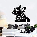 Zxfcccky Resumen Mascota Bulldog Francés Pajarita Casa Animal Vinilo Tatuajes de Pared Decoración Para El Hogar