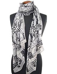 Nella-Mode Eleganter & Moderner feiner SEIDENSCHAL mit geometrischem Muster in gedecktem weiss, grau & schwarz ; Schal aus reiner Seide