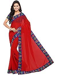 Aaradhya Fashion Women's Georgette Kalamkari Saree With Blouse Piece