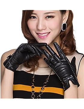 QKR&bellissimi guanti Signorina sezione Riparazione pelle di capra Guanti Arco vera pelle autunno inverno Tenere...