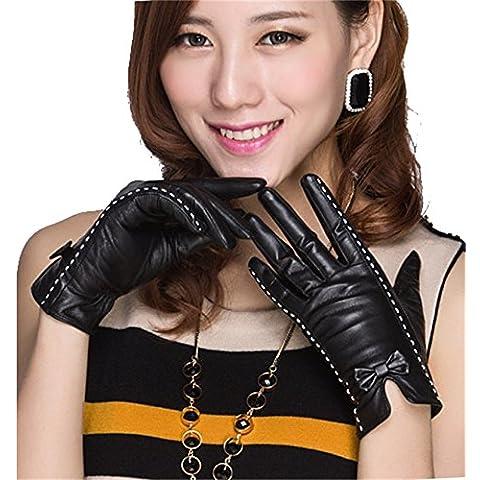 QKR&bellissimi guanti Signorina sezione Riparazione pelle di capra Guanti Arco vera pelle autunno inverno Tenere caldo Freddo addensare cashmere guanti squisiti ( dimensioni : L.
