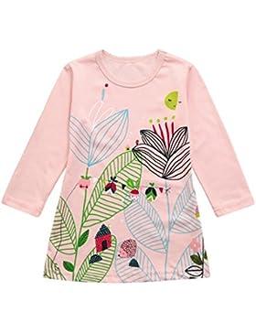 Kindermode Mädchen Kleider Longra Kinder Cartoons Kleider Langarmkleid Baumwolle Blumenkleid Festliche Kinderkleidung...