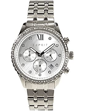 Esprit ES108732001 Chronograph Uhr Damenuhr Edelstahl Edelstahl5 Bar Analog Chrono Datum silber