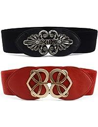 56dc50bfb0d82e TY fashion Damen Mädchen Breite Elastische Metall Gürtel Vintage Design  Schnalle