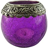 Craft In India Glass Candle Holder (11.8 Cm X 9.3 Cm X 8.2 Cm, Purple)