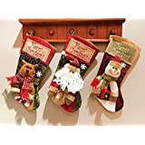 OAMORE 50cm Feliz Navidad Media Bolsas de Regalo Navidad Adornos Monigote de nieve Santa Alce Para Decoración Navideña (3 PCS / KIT)
