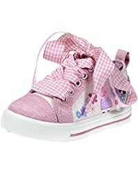 1c6678a5ca3 Peppa Pig Kids Toddler Girls Pink Canvas Floral Sneakers with Plaid Fabric  Lace (See…