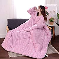 Hot sale! MAyouth Premium Cotton Blanket with Sleeves for Adult, Women, Men | Warm, Cozy, Extra Soft, Microplush, Functional, Lightweight Wearable Throw (Rosa Kleiner Wal, 120x160cm)