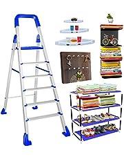TRENDY Maple 6-Step Foldable Aluminium Ladder with Shoe Rack, 2 Book Shelf Wall Mounted, 1 Key Holder, 3 White Corner Shelves