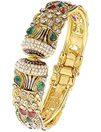 The Luxor Gold Plated Kundan & Meenakari Studded Kada For Women(BG-2096)