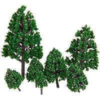 22pcs Modelos de Paisaje de Tren 16.3 Cm Árboles Arquitectura Verdes