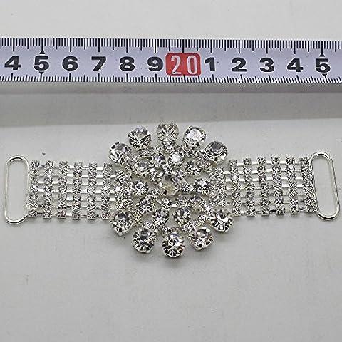 Nuovo 1Pc di alta qualità per cucire strass Bikini Connettori cristallo Fibbia Diamante d'argento di usura di nuoto del bikini Wedding Decoration