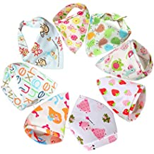 Bebedou 8 PACK GIRLS FLOWER Super Absorbent Pure Cotton Stylish Bandana / Dribble Bib for Babies and Toddler