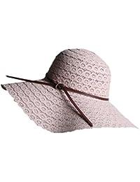 LAEMILIA Summer Beach Sun Hats For Women Floppy Wide Brim Straw UV Cap  Foldable Holiday Travel a62a365037db