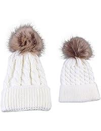 Gorros de punto Sannysis 2PCS gorro de invierno para madre y bebé