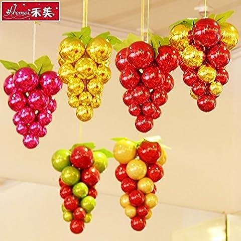 qwer Il Natale di uva soffitto stringa tappezzerie Natale tappezzerie vetrina di Natale di travi e Decorazione per albero di Natale pallina, stringa di uva 20 cm colore random H4-5