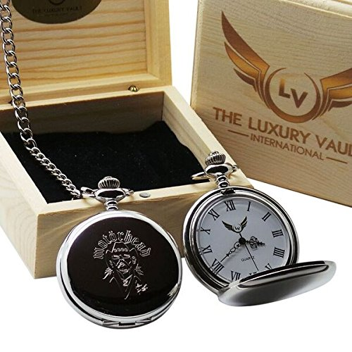 The Luxury Vault Motorhead Lemmy Signed Pocket Watch and Chain in Luxury Wooden Gift Case Autographed