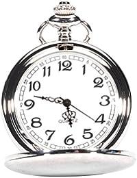 UEETEK Bolsillo vintage, reloj de cuarzo reloj Unisex hombres mujeres con collar reloj de bolsillo mecánico de cadena de plata de regalo