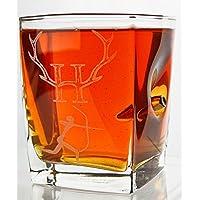 Hunter-Jäger Geschenk-Trink Glas mit realem Geschoß cal.308 und Gravur -