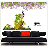 Crew4 3D PVC Removable Flower Rattan Peacock Wall Stickers - Multicolor