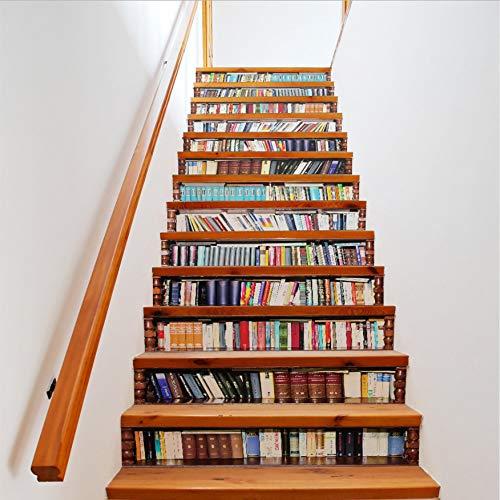 13 Teile/Satz Kreative DIY 3D Leiter Klebstoffe Bücherregal Bibliothek Muster Für Treppen Dekoration Grand Staircase Wand (Bücherregal-bibliothek-wand)