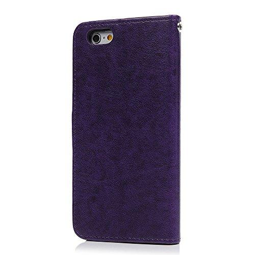 Badalink Hülle für iPhone 6 / iPhone 6S Rosa Gold Baum Handyhülle Leder PU Case Magnet Flip Case Schutzhülle Kartensteckplätzen und Ständer Handytasche mit Eingabestifte und Staubschutz Stecker Lila
