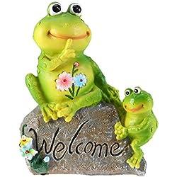 Amosfun Estatuas de Bienvenida del jardín de Ranas Figuras de Ranas Adornos de Animales para el Escritorio al Aire Libre Decoración al Aire Libre (Rana mamá y niño)