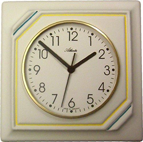 Küchenuhr Keramik Artline Viereckig Gelb-Petrolgrüne Streifen handbemalt Funkuhr