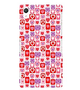 Hearts Pattern 3D Hard Polycarbonate Designer Back Case Cover for Sony Xperia Z2