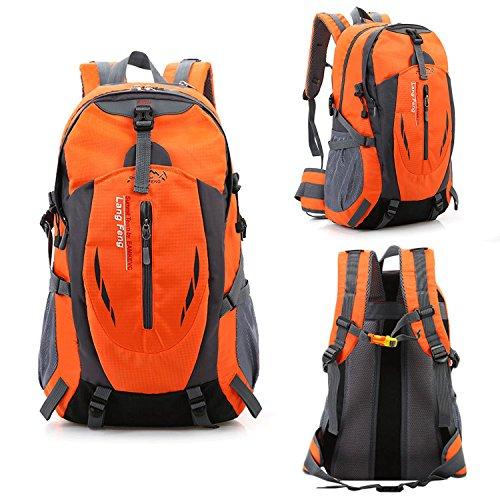 Imagen de senderismo  gran bolsa ligera de 40l impermeable, camping outdoor daypack con correa de la cintura para el senderismo, viajes, montaña de escalada, ciclismo, pesca naranja  alternativa