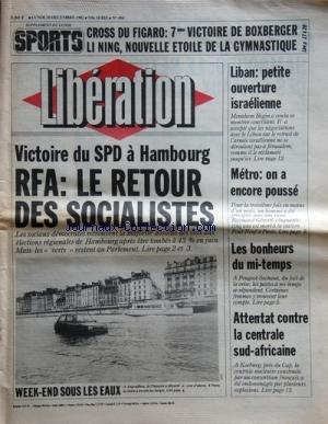 LIBERATION [No 494] du 20/12/1982 - VICTOIRE DU SPD A HAMBOURG / RFA - LE RETOUR DES SOCIALISTES - LIBAN / PETITE OUVERTURE ISRAELIENNE - LE MI-TEMPS CHEZ PEUGEOT-SOCHAUX - ATTENTAT CONTRE LA CENTRALE SUD-AFRICAINE - LES SPORTS / CROSS DU FIGARO ET BOXBERGER - LI NING EN GYM
