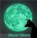 WandSticker4U- Wandtattoo Leuchtmond 30 cm I selbstklebend fluoreszierend Mond Leuchtend Aufkleber Glow Sticker Leuchtsticker I Deko für Kinderzimmer Schlafzimmer Flur