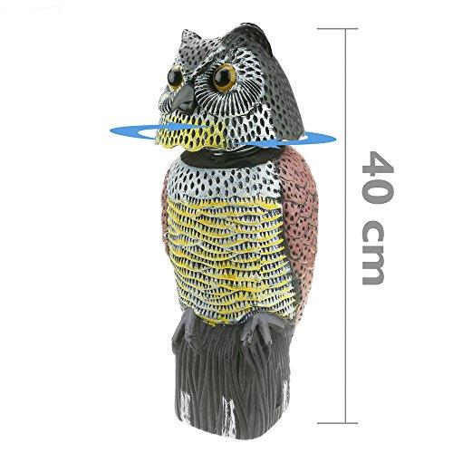 Cablematic - Ahuyentador de aves tipo estatua búho con ojos reflectantes 40cm hembra