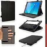 igadgitz Negro Funda PU Cuero para Samsung Galaxy Tab S2 9.7'' SM-T810 con Soporte Multi Angle + Auto Sleep/Wake + Correa de mano integrado + Protector Pantalla