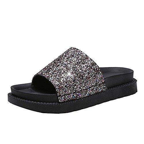 Transer ® Fashion femmes Mesdames été Peep-toe paillettes bas tongs Or
