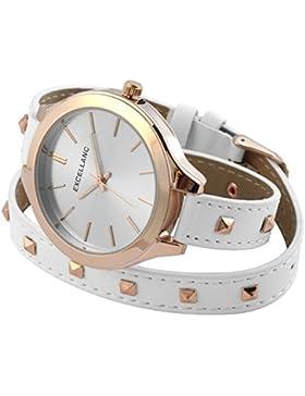 Excellanc analoge Armbanduhr Pu Leder Wickelarmband Damenuhr Weiß